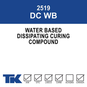 2519-dc-wb A 100% hydrocarbon resin, water/solvent based curing compound for fresh concrete. TK-2519 DC WB exhibits excellent curing properties and moisture retention for maximum surface density and hardness.