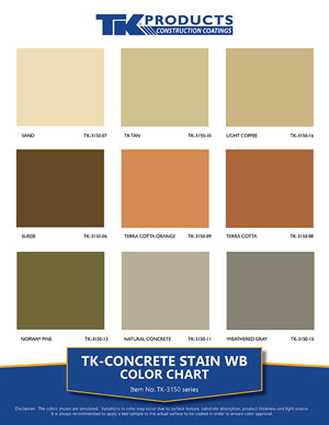 Concrete Stain WB Color Chart from TK Products