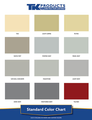 TK Products Standard Color Chart