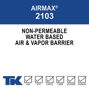 AIRMAX 2103 is a water-based, <100 g/L, non-permeable, rubberized air and vapor barrier ideally suited for residential building and commercial cavity walls. TK Products 2103 has superior UV resistance for 12 months and can be applied at temperatures 40 degrees and rising.