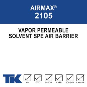 AIRMAX 2105 is a solvent-borne, <100 g/L, silicone based, vapor permeable, a liquid applied membrane that acts as an air and weather barrier. TK Products 2105 is rated for cold-climate application at temperatures of zero degrees and rising. AIRMAX 2015's air and weather barrier can be applied to residential concrete, masonry, exterior gypsum, plywood and OSB boards