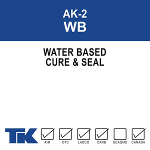 ak-2-wb A 100% water-based, high solids acrylic resin compound for curing, sealing, protecting and dust proofing new or existing concrete and masonry surfaces. TK-ACHRO KURE AK-2 WB is also formulated to seal many types of porous tile and resilient floor and wall coverings.