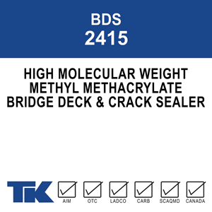 bds-2415 A fast curing, 100% solids, completely reactive polymer system designed to deeply and rapidly penetrate into cracks and pores in concrete surfaces. It re-bonds cracks and acts as a tenacious barrier to protect high traffic surfaces from water and environmental contamination.