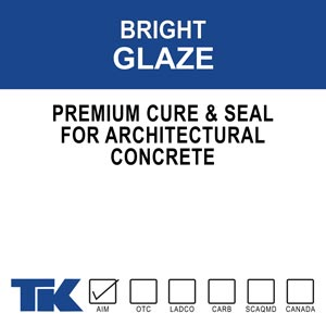 bright-glaze Bright Glaze is a premium, high gloss, cure and seal for architectural, decorative, and masonry surfaces. Bright Glaze is 27.5% solids and is made from pure 100% methyl/methacrylate polymers.