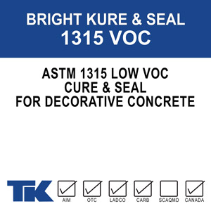 "bright-kure-&-seal-1315-voc A blend of 100% methyl/methacrylate polymers used as a superior curing, sealing and protective compound for exposed aggregate, colored concrete and other decorative concrete and masonry surfaces. Available in Gloss or Matte finishes. ""VOC"" formulation meets VOC content requirements"