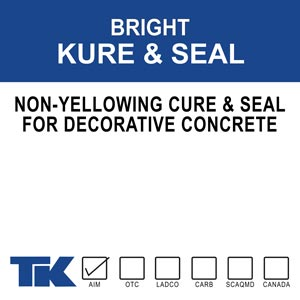 bright-kure-&-seal Bright Kure & Seal was formulated to protect architectural concrete such as exposed aggregate, colored, and stamped concrete. A 26% solids, non-yellowing, cure and a seal made from pure 100% acrylic. It has been tested and approved by the Minnesota (DOT) Department of Transportation for the curing of decorative concrete surfaces