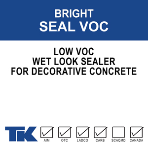bright-seal-voc A blend of 100% methyl methacrylate polymers used as a specialized curing, sealing and protective coating for new or existing decorative concrete