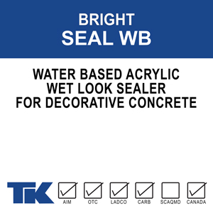 """bright-seal-wb An acrylic, waterborne, high solids sealer for new or existing decorative concrete. TK-BRIGHT SEAL WB brings out the """"wet look"""" and highlights the natural pigments in the surface"""