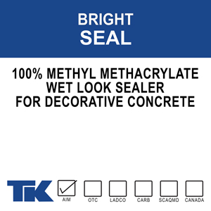 """bright-seal A blend of 100% methyl methacrylate polymers used as specialized curing, sealing and protective coating for new or existing decorative concrete. TK-BRIGHT SEAL brings out the """"wet look"""" and highlights the natural pigments in the surface"""