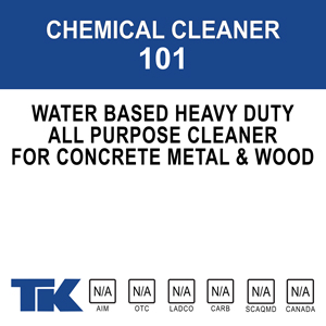 chemical-cleaner-101 A water-based, heavy-duty, all-purpose, concentrated cleaner for sealed concrete, metal and wood surfaces in institutional, industrial, commercial or residential environments.