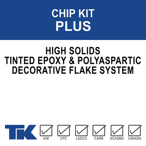 chip-kit-plus A complete liquid applied epoxy floor system for commercial, residential and industrial areas requiring strength and durability with a decorative finish. Includes tinted epoxy and decorative chips in a choice of colors.