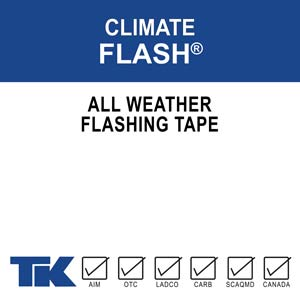 Climate Flash is an all-weather flashing tape is a multilayer polyolefin backing that acts as an air, moisture, and vapor barrier. Climate Flash is self-adhering, self-seals, and will conform to irregular surfaces with low permeability.
