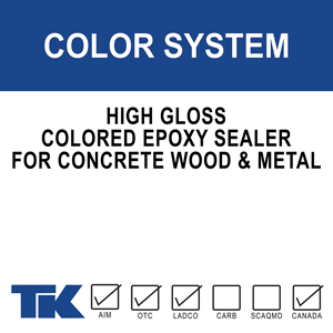 color-system A two-component, high-gloss, colored epoxy coating for use on concrete, wood or metal in areas subjected to heavy traffic, abrasion, and/or chemical attack.