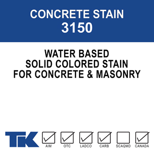 concrete-stain-3150 A water-borne, single component, solid colored stain to beautify and protect concrete and masonry surfaces. TK-CONCRETE STAIN WB 3150 acts as a barrier against damaging substances such as acids and oils