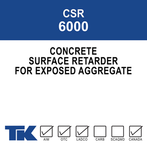 A concrete surface retarder for application to freshly placed horizontal concrete surfaces. TK-6000 chemically retards, or delays, the set of the concrete to allow the top layer (known as surface mortar)