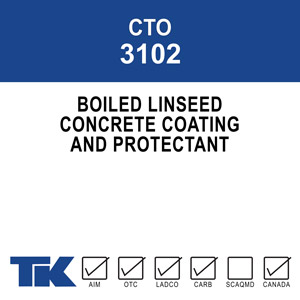 cto-3102 A high-build solution of boiled linseed oil and mineral spirits to be used as a protective coating for exterior concrete and masonry surfaces.