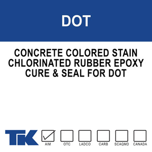 dot A high solids, pigmented chlorinated rubber that cures, seals and protects previously patched or mismatched concrete. TK-DOT STAIN masks surface inconsistencies while imparting a uniform and attractive finish that is protected from the elements