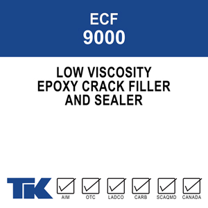 A two-component, 100% solids epoxy designed with state of the art epoxy resins and low-toxicity curing agents for filling and sealing cracks in concrete decking and floors. TK-9000 EPOXY CRACK FILLER provides long-term protection against harmful chemicals and deicers.