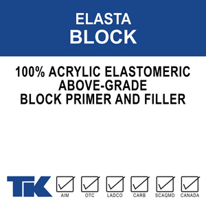 elasta-block A 100% acrylic, elastomeric, above-grade block filler, and primer for all types of concrete and masonry. TK-ELASTA BLOCK 338-1 fills and seals porous surfaces in preparation for top-coating with many kinds of decorative finish coats.