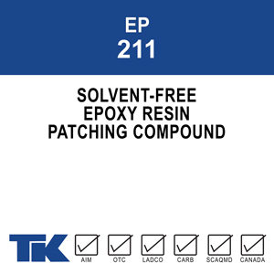 ep-211 A versatile two-component, solvent-free epoxy resin system for patching, repairing and bonding concrete and other substrates. Insensitive to moisture, TK-EPOXY PATCH 211 may be used for a variety of purposes in either dry or damp environments.