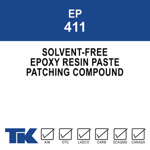 ep-411 A versatile, two-component, 100% solids solvent-free epoxy resin paste system for vertical or overhead patching and bonding on new or existing concrete.