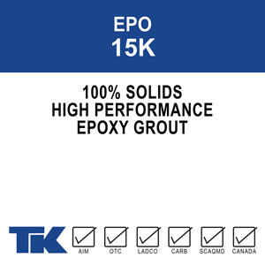 epo-15k A three-component, 100% solids, high performance, epoxy machine grout for providing precise alignment, high impact resistance and oil and chemical resistance to dynamic load equipment foundation applications. Also available in the deep pour and pump-able formulations.