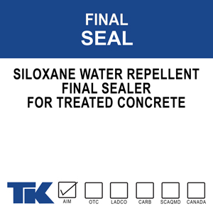 A low viscosity, breathable, deep penetrating water repellent for concrete and masonry. Due to its unique formulation, TK- FINAL SEAL may be applied as a final sealer to concrete that was previously coated with a cure and seal compound. FINAL SEAL
