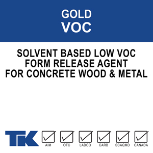 gold-voc A water-based, economical, low odor, chemically reactive form release agent which prevents concrete from sticking to forms and form liners during the curing process.