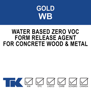 gold-wb A water-based, economical, low odor, chemically reactive form release agent which prevents concrete from sticking to forms and form liners during the curing process.