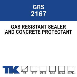 grs-2167 Gas Resistant Sealer 2167 is a specialized blend of 100% high molecular weight acrylate polymers. This formula produces the best protection against gasoline, oil, and grease and makes it the ideal sealing compound for automotive repair, airplane hangars, engine maintenance shops, and other concrete floors.