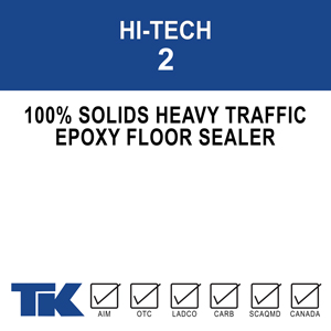 hi-tech-2 A two-component, solvent-free, high-build, 100% solids epoxy/amine system designed specifically for concrete floor applications where maximum durability and chemical resistance are needed