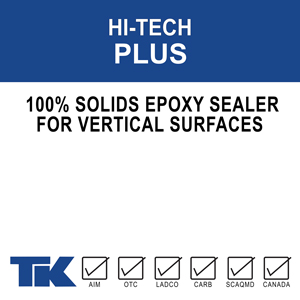 hi-tech-plus A two-component,solvent-free, high-build, high solids, 100% epoxy/amine system designed specifically for vertical concrete applications where maximum durability and chemical resistance are needed