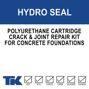 hydro-seal A flexible, hydrophobic, polyurethane, two-component cartridge system used to repair cracks, joints, and to prevent water leakage in concrete foundation walls