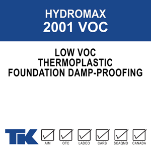 "hydromax-2001-voc A plastic solution formulation for damp proofing above or below-grade poured concrete and concrete block foundation walls to prevent the penetration of water and other chemicals. ""VOC"" formulation meets VOC content requirements."