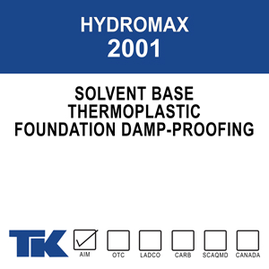 hydromax-2001 A plastic solution formulation for damp proofing above or below-grade poured concrete and concrete block foundation walls to prevent the penetration of water and other chemicals.