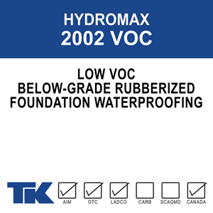 hydromax-2002-voc A non-breathable, single component, fluid applied foundation coating. This solvent-based, rubberized polymer formulation is used to dampproof and waterproof below-grade concrete surfaces