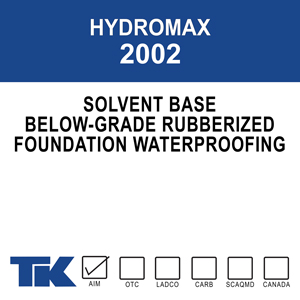 hydromax-2002 A non-breathable, single component, fluid applied foundation coating. This solvent-based, rubberized polymer formulation is used to dampproof and waterproof