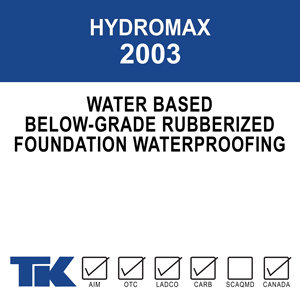 hydromax-2003 A single-component, non-breathable, liquid applied foundation coating for waterproofing below-grade concrete.