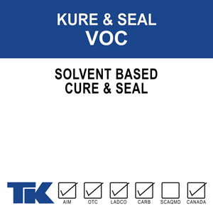 "kure-&-seal-voc A blend of 100% methyl/methacrylate polymers used as a superior curing, sealing and protective compound for exposed aggregate, colored concrete and other decorative concrete and masonry surfaces. Available in Gloss or Matte finishes. ""VOC"" formulation meets VOC content requirements."