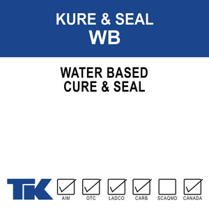 kure-&-seal-wb A water-based, 100% acrylic polymer compound for curing, sealing and hardening new or existing concrete and masonry surfaces. TK-KURE & SEAL WB is also formulated to seal many types of porous tile and resilient floor coverings.