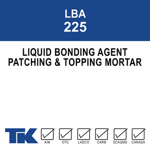 lba-225 An acrylic latex liquid bonding agent with an admixture (in place of water) for cement mortar patching and resurfacing. When mixed with a cement/sand or gravel combination