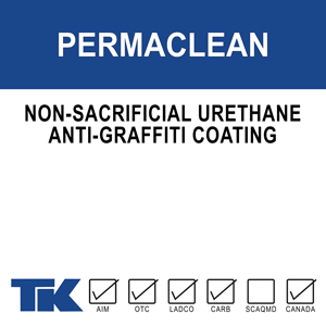 permaclean Features a unique blend of aliphatic urethane resins specifically formulated to protect surfaces from graffiti vandalism. Substances such as spray paint, lipstick, nail polish, marker and multiple component paint products