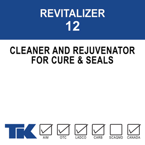 revitalizer-12 A rejuvenator for old and weathered concrete surfaces. TK-REVITALIZER 12 revives aging curing/sealing compounds and restores them to their original aesthetic