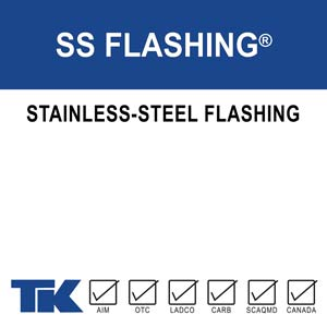 SS Flashing is a self-adhering stainless-steel lap/splice material designed to work with TWF-18™. SS Flashing will form a tough, watertight bond and aid in preventing air transmission through masonry, curtain walls, construction joints and fittings.
