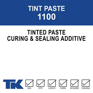 tint-paste-1100 A color additive specifically designed for use with TK-BRIGHT KURE & SEAL, or TK-ACHRO SEAL AS-1 1315 curing compounds. When mixed properly with these compounds, TK-TINT PASTE produces an opaque, uniformly tinted cure and seal for a variety of applications. Available in 24 standard colors, or custom colors may be produced upon request.