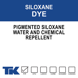 tk-siloxane dye 5765 A specially formulated pigmented waterproofing treatment for producing uniformly colored concrete surfaces that are water and chemically resistant. Available in standard or custom color