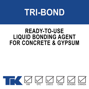 tri-bond A liquid, ready-to-use, high build, re-emulsifiable bonding agent for adhering gypsum plaster and Portland cement mixtures to a variety of surfaces.