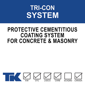 tri-con-system A three-part system combining a cementitious concrete surfacer, an acrylic bonding agent, and a 100% acrylic masonry coating for the ultimate in surface protection, adhesion between components, and an attractively colored/textured finish.