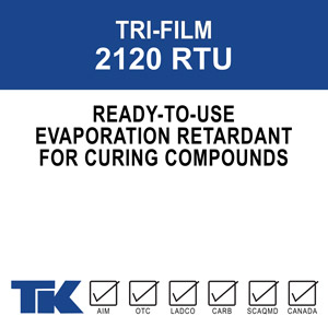 tri-film-2120-rtu A ready to use evaporation retardant for freshly placed concrete to prevent premature drying that can result in finishing problems such as stickiness, sponginess, unevenness, and cracking.