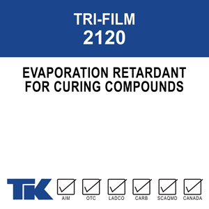 tri-film-2120 An evaporation retardant for freshly placed concrete to prevent premature drying that can result in finishing problems such as stickiness, sponginess, unevenness, and cracking.